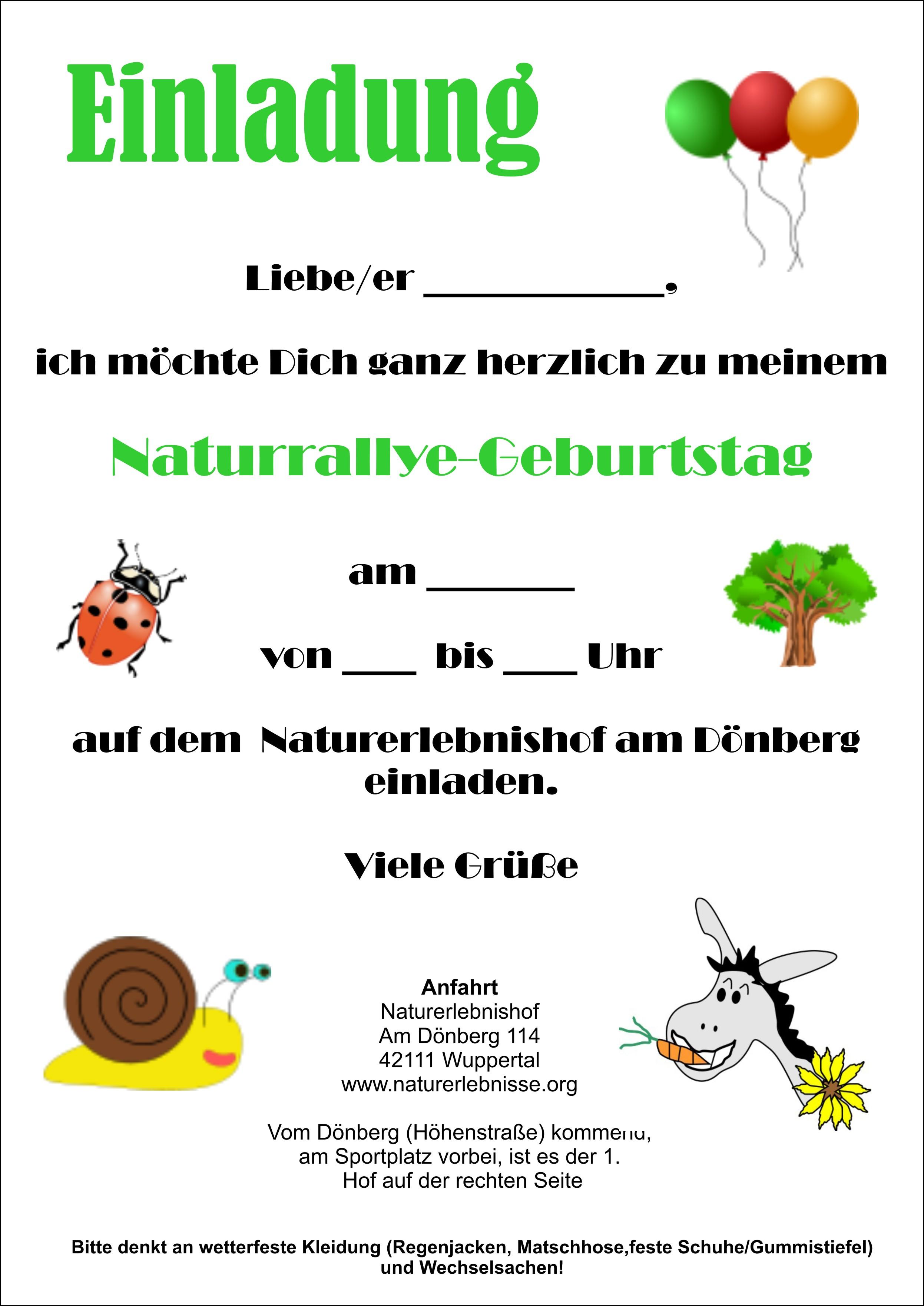 Perfekt Einladung Kindergeburtstag Natur U2013 Cloudhash, Einladungs