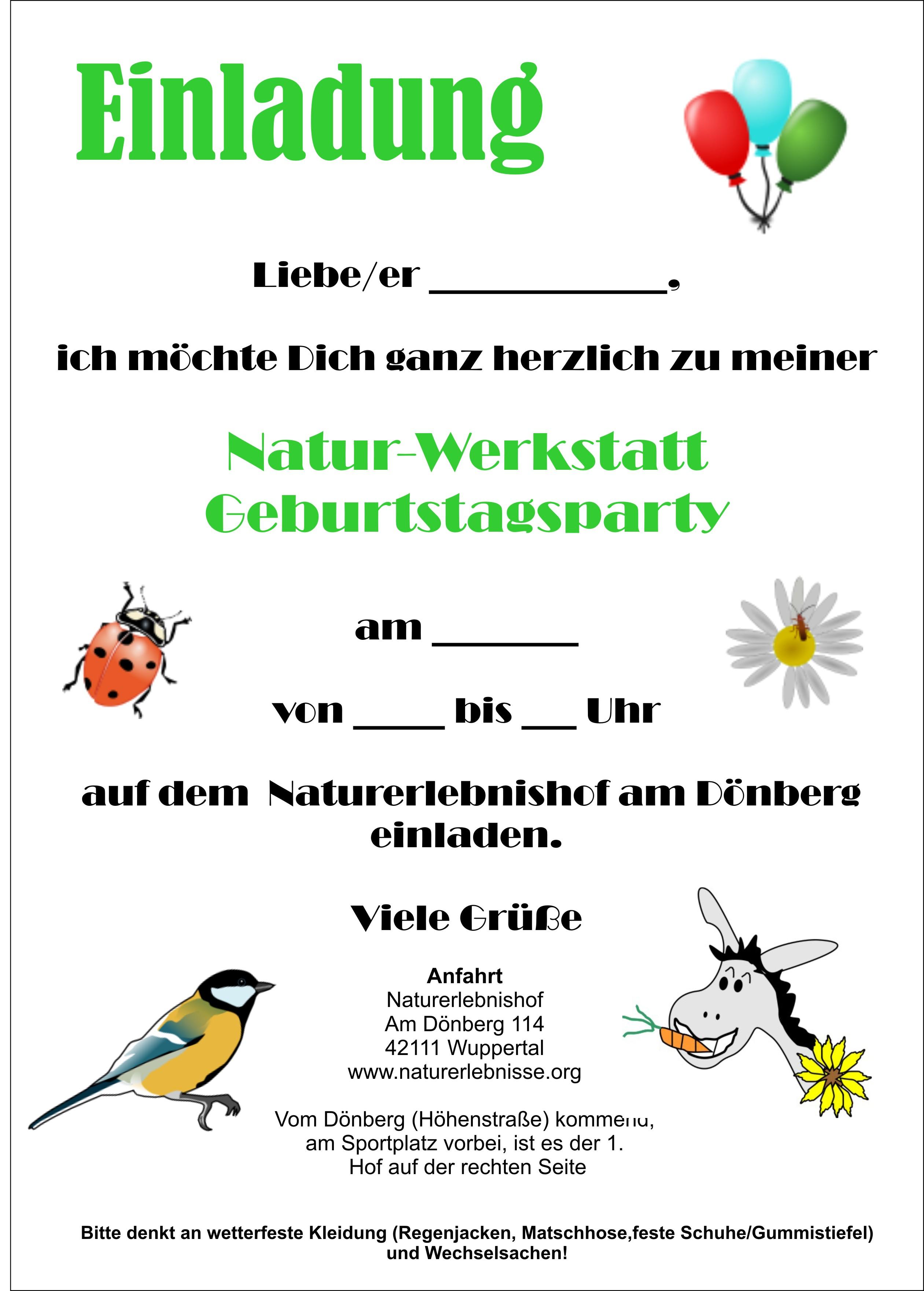 Einladung Kindergeburtstag Natur Designideen