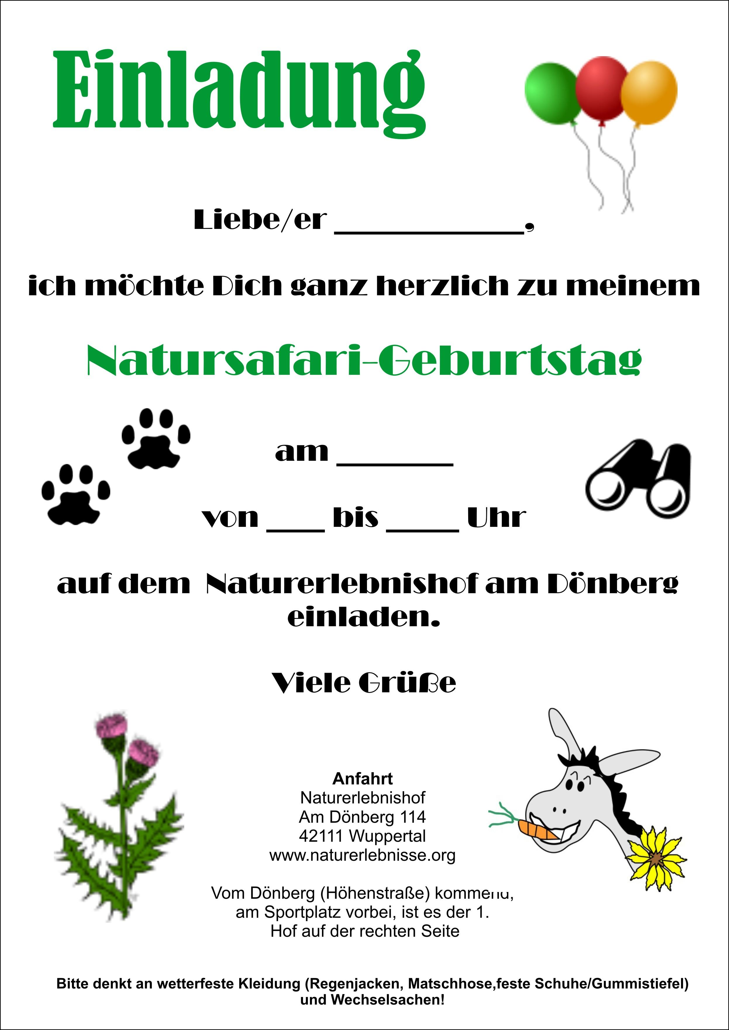einladungskarten - naturerlebnishof am dönberg - kindergeburtstage, Einladung