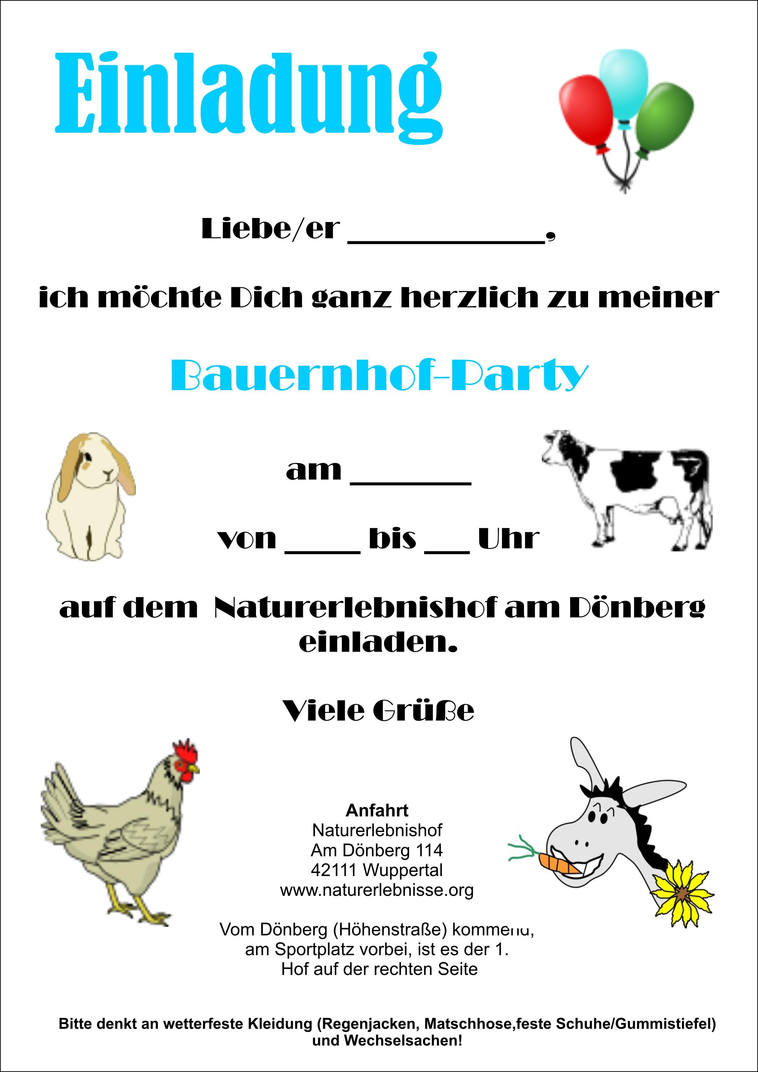 einladungskarten - naturerlebnishof am dönberg - kindergeburtstage, Einladungsentwurf